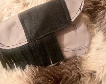 Grey and black clutch with fringe