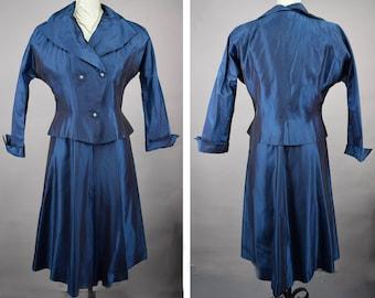 Royal Blue Vintage 50s Sharkskin Party Dress with Jacket M L
