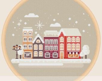 Winter town landscape - Cross stitch pattern
