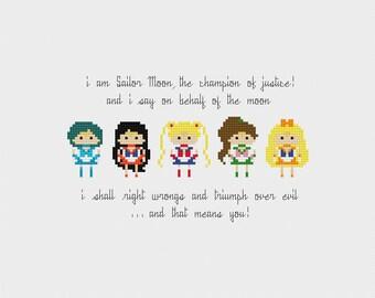 Sailor Moon Cross Stitch Pattern PDF Instant Download