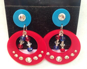 Vintage Lightweight Acrylic Red & Blue Hoops W/Jewels And Crystals Dangle Clip Earrings