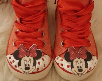 Baby girls Mini Mouse red shoe boot trainer bling