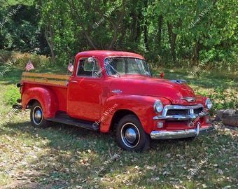 Old Red 50s Chevy Truck 54 Chevrolet Vintage Antique Restoration 1954 Fine Art Photography Photo Print