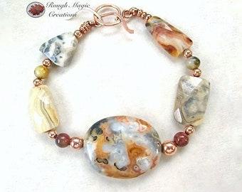 Chunky Stone Bracelet, Gemstone Jewelry, Gray Orange Earth Tone, Crazy Lace Agate, Large Stone, Semi Precious Gems Copper Toggle Clasp B227