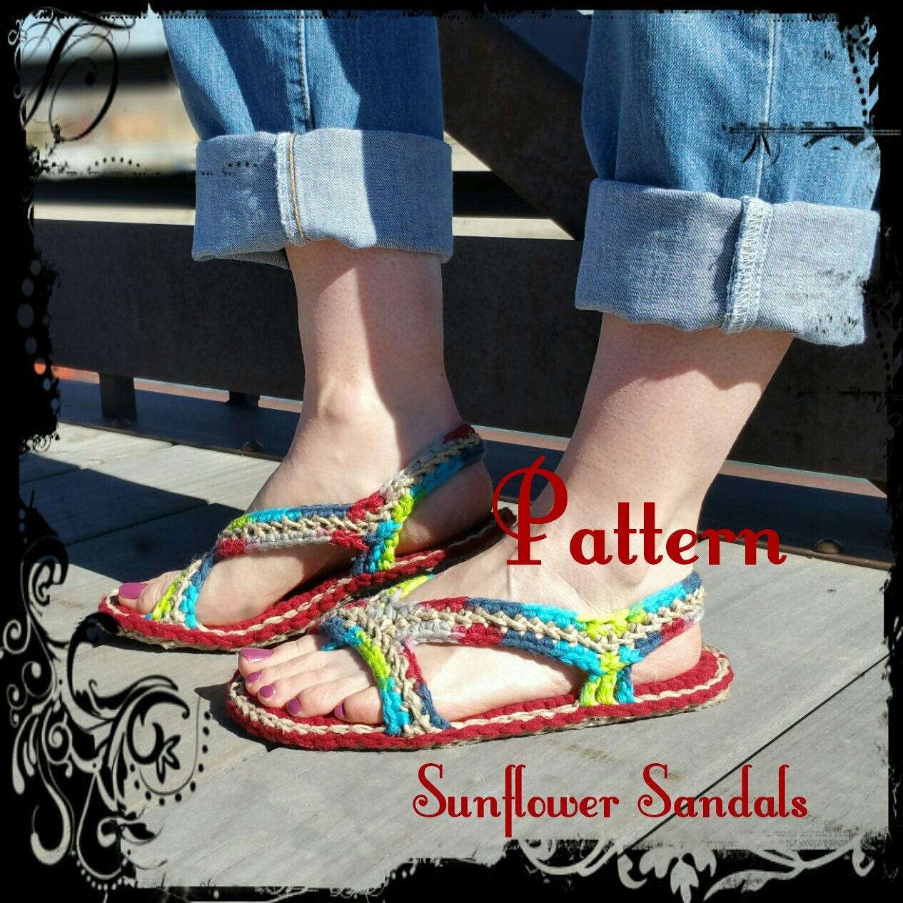 Crochet Sandals Pattern, Sunflower Sandals, teen, women, mens ...