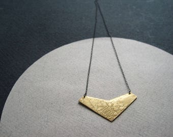 Bronze lace textured geometric chevron pendant on fine oxidised silver chain