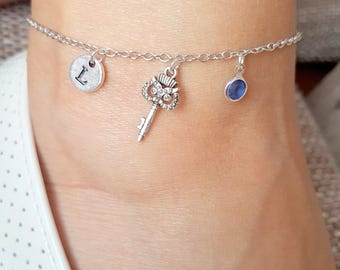 Silver Charm Anklets, Owl Key Foot Bracelet, Anklet Chain, Jewerly for Women, anklet with gem stone, personalized chain anklet,birthday gift