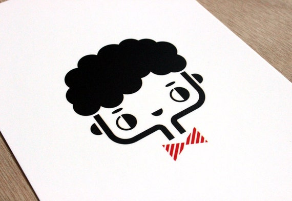 Postcard Happy - cute greeting card - kawaii illustration - minimalist home decor children bedroom - black white red - girl gift