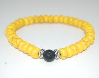 Yellow Turquoise Bracelet,Rondelle Stone Beads,Prayer,Meditation,Yoga Bracelet,Protection,Man,Woman,Green Turquoise Beads,Energy Power