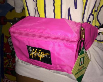neon pink HIP POCKET fanny pack - new w tags - vintage 90s gear