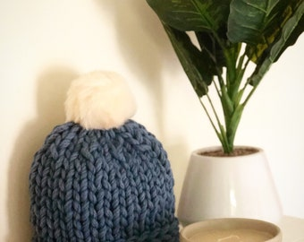 Handmade pom pom merino wool adult beanie (steel blue- cream pom)