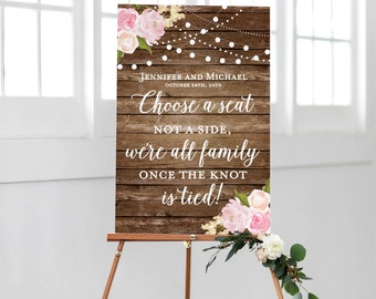 Printable Choose a Seat, Not a Side Wedding Sign, Printable Wedding Sign, Seating Sign, Pick a Seat, Ceremony Sign, Wedding Poster #CL102