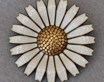 A. Michelsen Danish Daisy Sterling Vermeil Guilloche Brooch Vintage