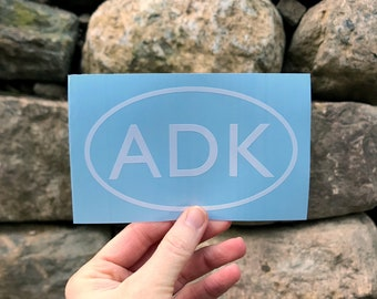 ADK in Oval / Hiking Decal / Mountain Decal / Mountain Sticker / Adk Decal / ADK Sticker / North Country / Souvenir Decal / Hometown Decal