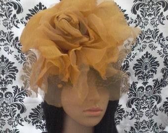 Couture Gold Silk Velvet Pedals Large Rose Mini Hat