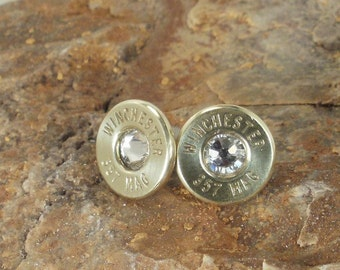 Bullet Earrings - Winchester 357 Magnum - Crystal - Ultra Thin