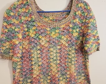 Vibrant Crochet Rainbow Top