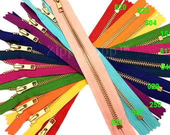 Zipperstop Wholesale - Metal Zippers YKK® #5 Brass Zipper Medium Weight Closed Bottom Available in 7 Inch and 9 Inch