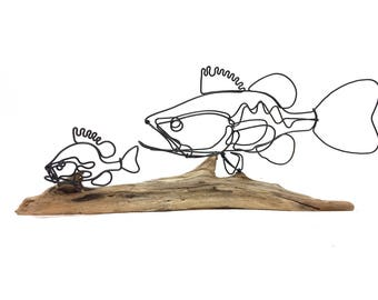 Fish Wire Sculpture, Bass Wire Sculpture, Wire Folk Art, Fish Chase Scene, 590619413