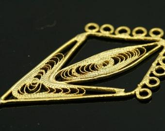 2 pcs 60 mm gold plated brass handmade finding charm pendant 573
