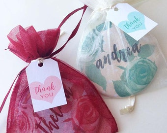 Personalised Purse Mirror - Roses - Organza pouch - Wedding Favour