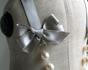 Ribbon Necklace, Gray Necklace, Grey Necklace, Swarovski Pearl, Bridesmaid Necklace, Ribbon and Pearl Necklace, Gray Wedding