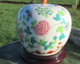 People's Republic Chinese Lidded Vase Urn Jar Green Floral design Marked