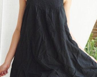 ON SALE 30% off, D17, Easy Going Summer Black Cotton Dress, black dress