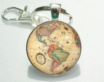 World map key ring etsy globe keychain gift for world traveler vintage colorful world globe pendant world map gumiabroncs