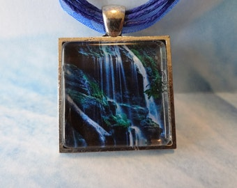 Paradise Falls Glass Tile Pendant  with matching ribbon and cord necklace  T922