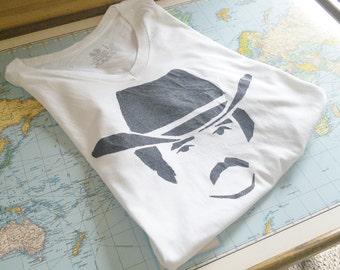 Burt Reynolds - Smokey and the Bandit Hand Stamped Men's T Shirt, Vintage Style. Black on White or Grey. Husband, Boyfriend, Christmas Gift!