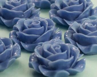 6 Blue Rose Flower Cabochons Flat Back 28mm
