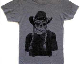 willie nelson shirt, cat tshirt, funny cat graphic t, willie nelson tee, fashion tshirt, screen print, silkscreen, free shipping