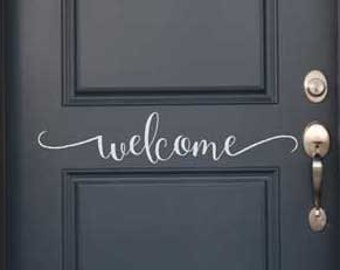 Welcome - vinyl decal vinyl wall words lettering sticker decal home decor door sign KW1259