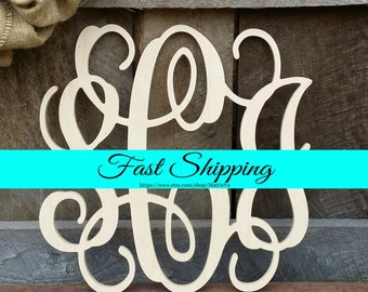 Wall Monogram - Unfinished Vine Script Monogram - Wood Monogram - Monogram Home Decor - Monogram Wall Hanging - Monogram Door Hanger