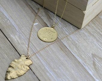 Double Chain Coin and Arrowhead on a Gold Necklace - Australian Seller