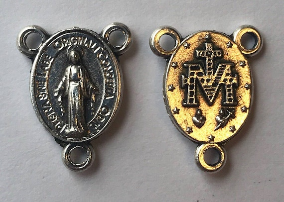 5 Rosary Center Findings, Mary Immaculate, Tiny, Die Cast Silverplate, Silver Color, Oxidized Metal, Made in Italy, Charm, Religious