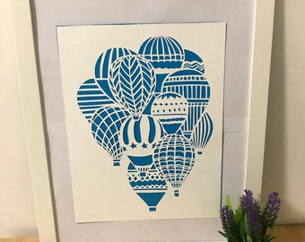 Hot air balloons: papercut handmade, paperart