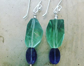 Fluorite and Iolite Gemstone Sterling Silver Earrings