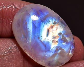 Rainbow Moonstone, Blue Flash Moonstone, Moonstone Jewelry, Loose Moonstone,Moonstone Gemstone,Moonstone-Crt 26.30-Size 26x18x6 mm ab96