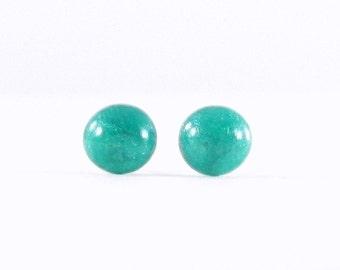 Teal studs, teal earrings, blue post earrings, simple blue jewelry, blue stud earrings