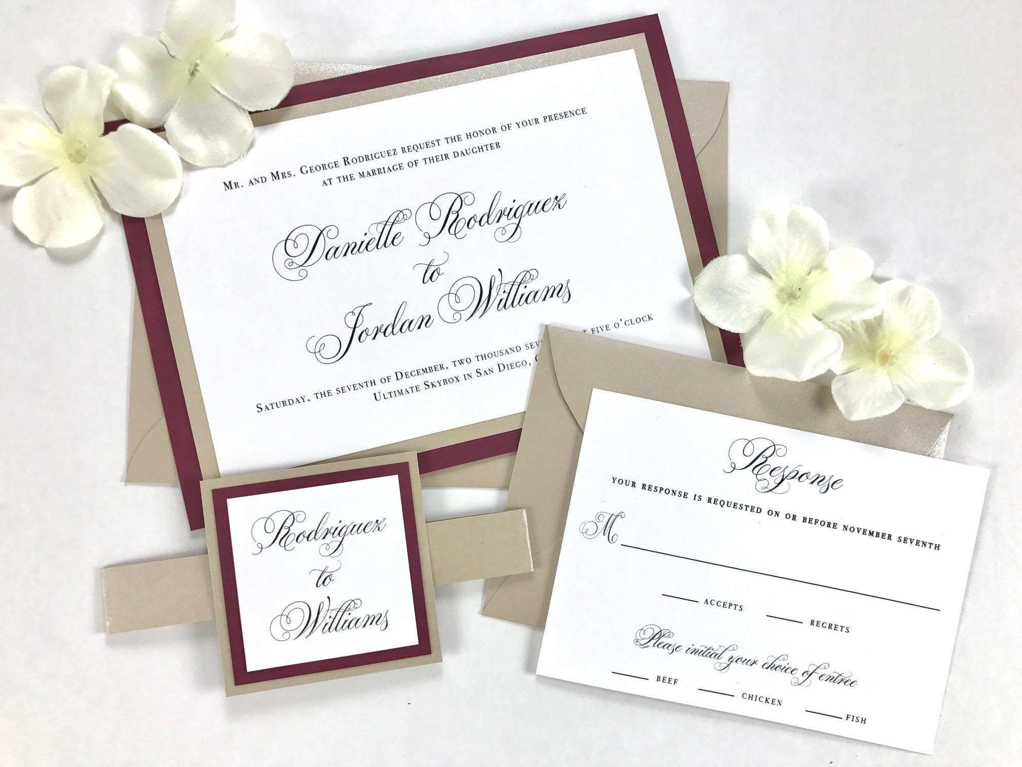 Burgundy and Beige beautiful wedding invitation bundle set of