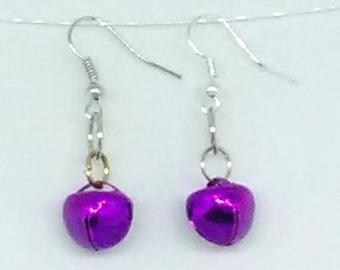 Purple Mardi Gras Jingle Bell Earrings