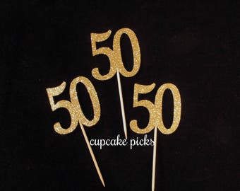 50th Cupcake Picks, 50th Cupcake toppers, 50th Birthday Party Decorations,Gold Glitter 50th Cupcake Toppers