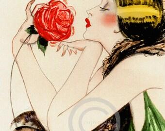 Art Deco Spanish Flapper Girl Print, Holding a Rose, Jazz Age, Vamp, Boudoir, Gorgeous Lady, Giclee Fine Art Print ,11x14,1920s