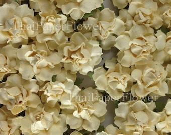 20 Cream Mulberry Paper Flowers Scrapbook Craft Wedding Supply Card Making (147/R21)