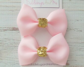 Pink and Gold Tuxedo Hair Bows, Pink Tuxedo Bows, Girls Hair Bows, Baby Hair Bows, Piggy Tail Bows, Girls Hair Accessories