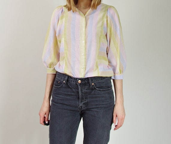70s Claude D'Alban Paris paper-thin pastel striped street style women blouse made in France
