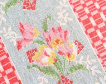 Heavy Pillow Ticking Fabric - 1920s Striped Floral Cotton - NOS