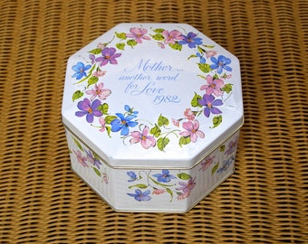 Vintage Cookie Tin Mother's Day 1982, Made in England, Floral Avon Tin Canister, Created for Avon, Gift for Her,Gift for Mom